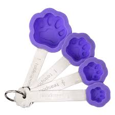 Decorative Measuring Spoons And Cups Silicone Purple Paw Measuring Spoons The Animal Rescue Site