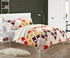 Mia Bedroom Furniture Mia Spice 3 Piece Plush Microsuede Printed Sherpa Bedding