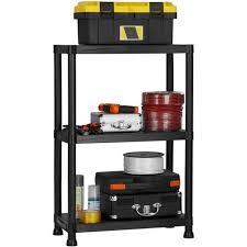 vonhaus 3 tier plastic shelving utility unit shed garage storage freestanding shelves system 75kg capacity 25kg