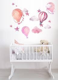 hot air balloon watercolor wall decal