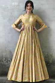 Beige Gold Printed & Floral Embroidered Gown Design by I AM DESIGN at  Pernia's Pop Up Shop 2021