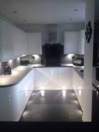 kitchen cabinet doors not flush luxury white gloss handless wren kitchen with curves grey slate work