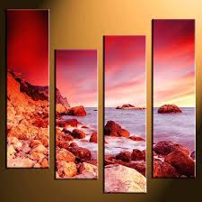 home decor 4 piece wall art ocean pictures large canvas red prints beach