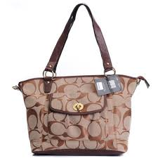 Coach Logo Signature Lock Medium Brown Totes DZY