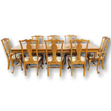 thomasville oak dining table with 8 chairs 78857a jpg
