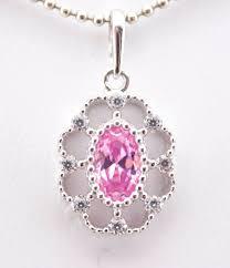 14k white gold birthstone pink sapphire cz pendant