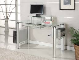 innovex clear glass and chrome computer desk