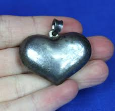 large vintage sterling silver puffy heart pendant for necklace 1 5
