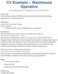 Gallery Of Warehouse Operative Cv Example Cover Letters And Cv