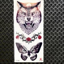 Kmenové Akvarel Měsíc Vlk Motýl Kočka Tlapka Dráp ženy Dočasné
