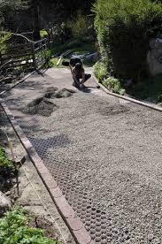 the driveway is levelled and prepared for resurfacing the core gravel foundation panels easily clip together and can be shaped to any landscaping plan