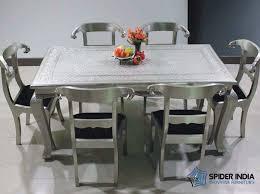 Embossed White Metal Dining Table Set