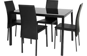 garcia glass dining table and 4 chairs black