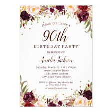 Elegant Gold Burgundy Floral 90th Birthday Party Invitation Zazzle Com
