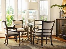 Chairs With Wheels For Kitchen Caster Dining Sets Rolling Arms