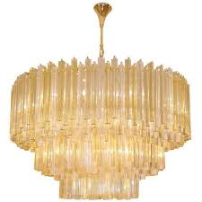 three tiered amber and clear crystal chandelier for