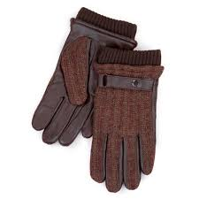 isotoner mens smartouch ribbed leather gloves brown