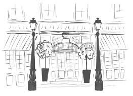 front door clipart black and white. Entrance Door Of European Boutique Or Restaurant. Street, Front Building And Lanterns. Clipart Black White S