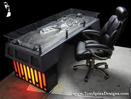 han solo in carbonite desk themed coffee table furniture charity auction mark hall casting star wars