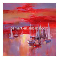 art supplies abstract wall art seascapes sea and boat oil painting painted canvas moder abstract sunset