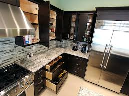 custom black kitchen cabinets. Interesting Custom Heights Modern Black L Shaped Kitchen With Custom Cabinets  Hardware In
