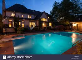 home swimming pools at night. Luxury Home With Swimming Pool At Night, USA Pools Night O