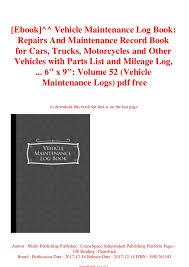 Ebook Vehicle Maintenance Log Book Repairs And