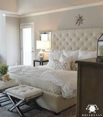 pottery barn master bedroom decor. Beautiful Pottery White Tufted Ottoman Benches With Mirrored Legs In Front Of Bed With Pottery Barn Master Bedroom Decor