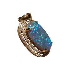 blue semi black opal pendant diamonds 14k gold