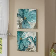 gisei 2 piece framed print set on canvas on seafoam green canvas wall art with flower paintings botanical wall art you ll love wayfair
