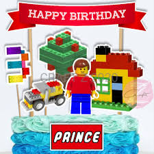 Lego man Cake topper set (PERSONALIZED NAME & AGE)