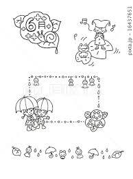 モノクロ イラスト素材 梅雨 6月のイラスト素材 16437651 Pixta