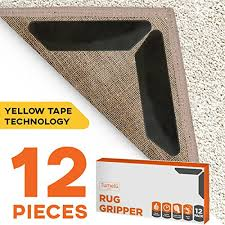 12pc premium large size anti curling carpet tape rug gripper will keep rug in place keep corners flat advanced with yellow capet tape double sided