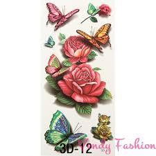 Dočasné Tetování Barevné Růže A Motýli
