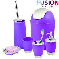 Purple Bathroom Bin Bathroom Set 6 Piece Accessory Bin Soap Dish Dispenser Tumbler