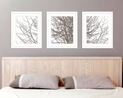 Modern Tree Branches Art Prints - Set of 3 11x14 prints - Taupe Brown  Winter Tree