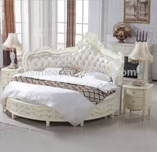 Luxury Wooden Round Bed, Wood Double White Round Bed