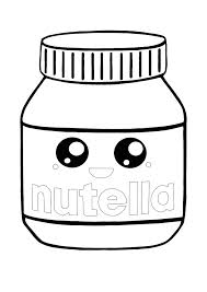 These kawaii drawings are fairly simple, making them great coloring sheets for toddlers and preschoolers. Kawaii Nutella Coloring Page Coloring Pages Cute Coloring Pages Chibi Coloring Pages