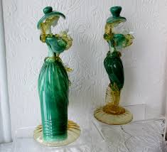 pair of vintage italian venetian glass figurines lady and gentleman