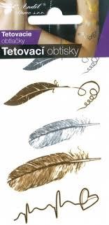 Tetovací Obtisky Zlaté A Stříbrné 105 X 6 Cm Pírka 1115