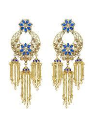 gold plated blue stone austrian diamond chandelier earrings