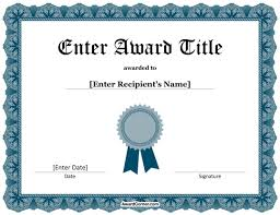 Blue Ribbon Template Blue Ribbon Certificate Template For Microsoft Word
