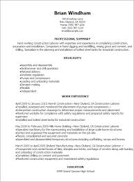 Resume Template For Laborer Commily Com