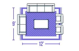 front legs of furniture on rug graphic area rug size guide