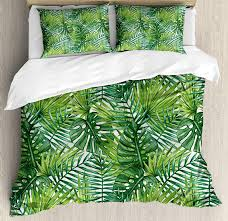 tropical duvet cover set coconut palm tree nature paradise plants foliage leaves digital ilration bedding set queen comforters and bedding sets bedroom