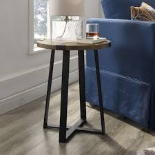 winmoor home transitional round end table rustic oak black metal only