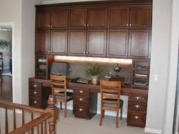 two person desk home office. Brown Wooden Long Desk With Drawers Connected Shelves Also Cabinet Above Plus Light Two Person Home Office O
