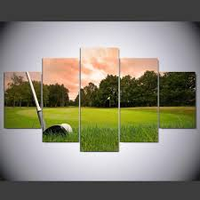 framed 5 pcs golf ball club at course golf canvas wall art picture home d cor