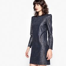 <b>Платье</b> с блестящим эффектом и <b>длинными</b> рукавами синий <b>La</b> ...