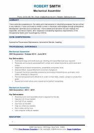 mechanical sample resume mechanical assembler resume samples qwikresume